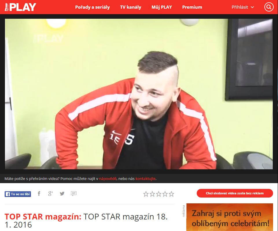 Reportáž – Kuba Děkys Děkan ve včerejším TOP STAR magazínu na TV Prima !!!
